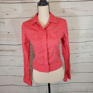 Lacoste Womens Coral Linen Jacket Size Small